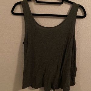 Gray open back tank top